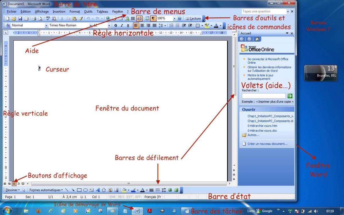 Module 1 initiation les fen tres des traitement de texte for Fenetre windows outils