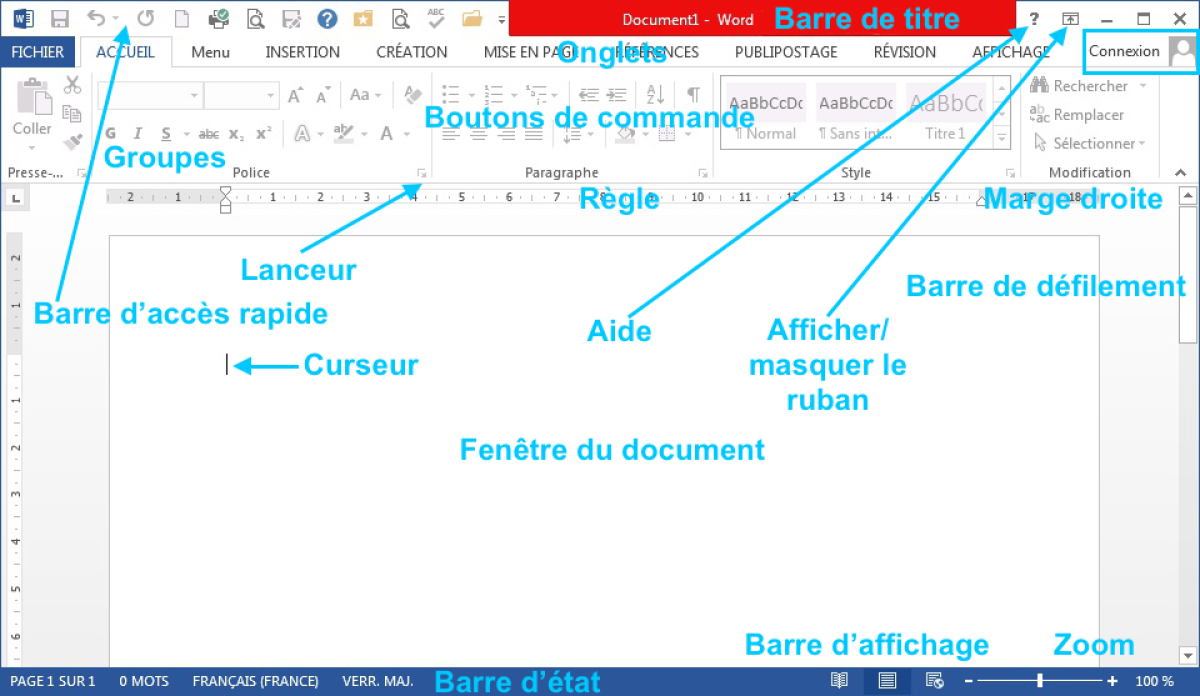 module 1 initiation les fen tres des traitement de texte On fenetre word 2013