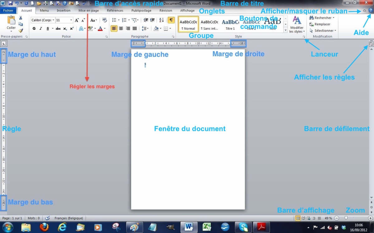 Module 1 initiation les fen tres des traitement de texte for Fenetre windows 7 outils