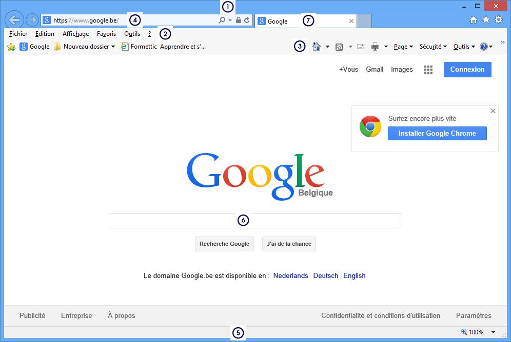 Module 1 initiation 1 3 le navigateur internet explorer for Fenetre internet