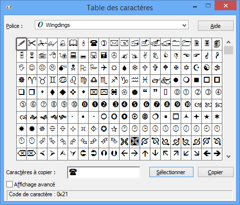 Module 1 initiation utiliser la table des caract res - Table de caracteres speciaux ...