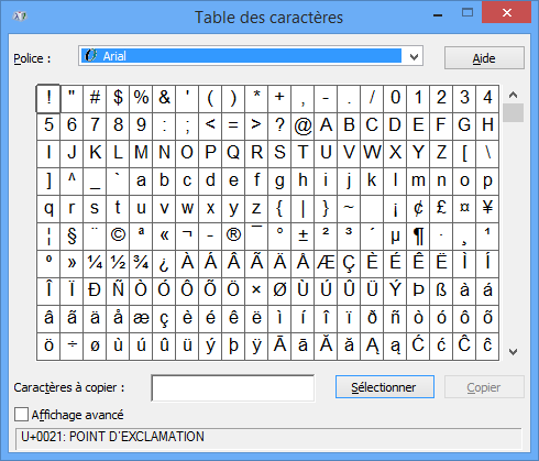 Module 1 initiation le clavier - Table de caracteres speciaux ...