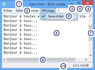 bloc notes windows 10