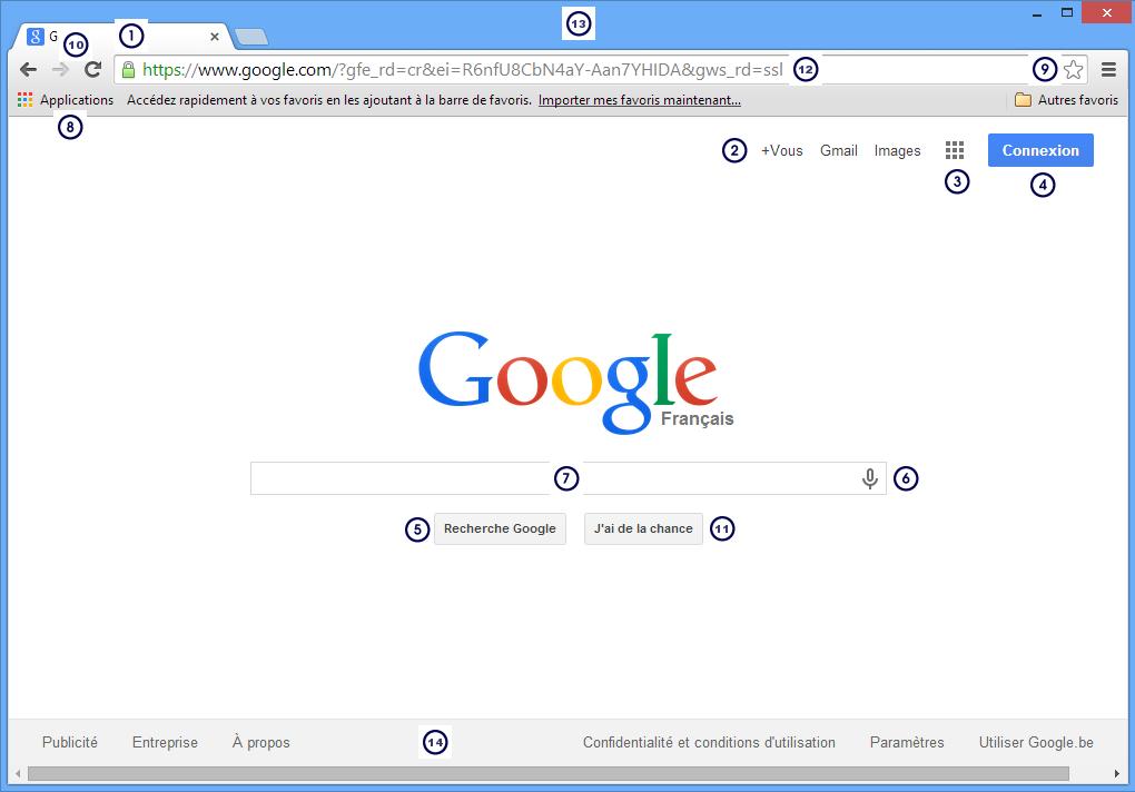 module 2 internet exercice google chrome linterface