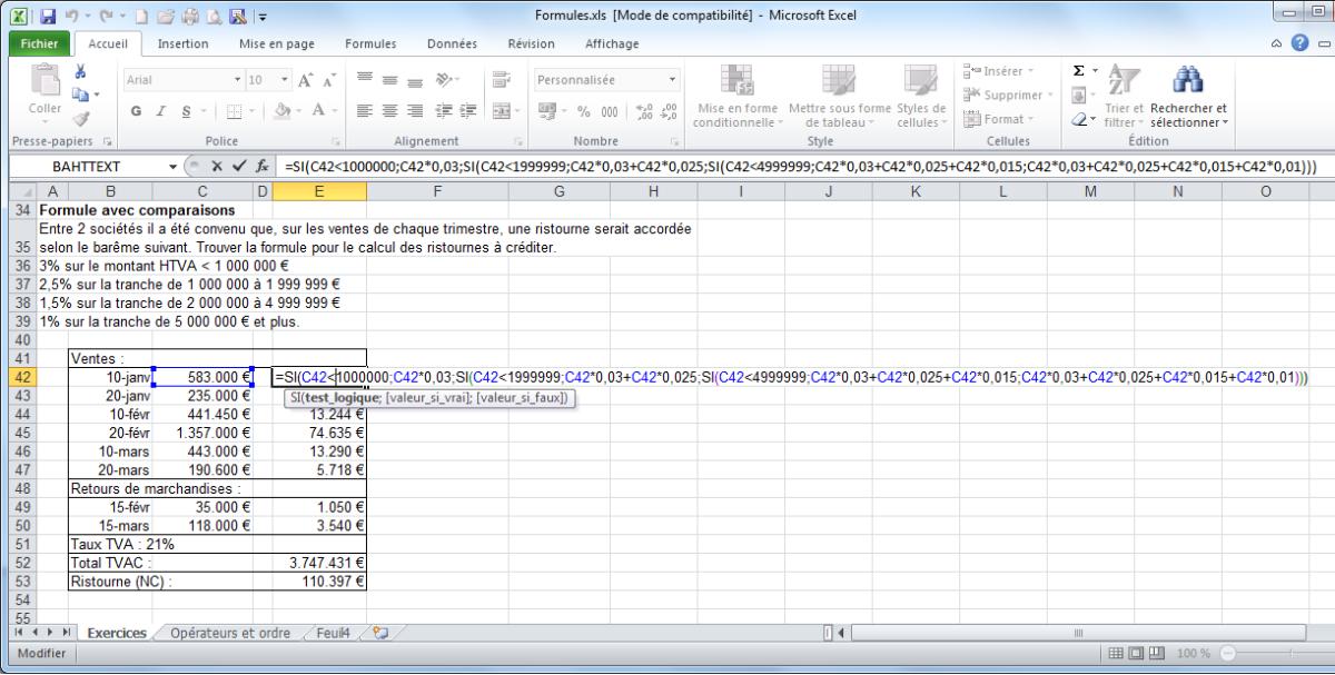 Module 3 bureautique excel calc bases fonctions logiques for Fonctions logiques de base