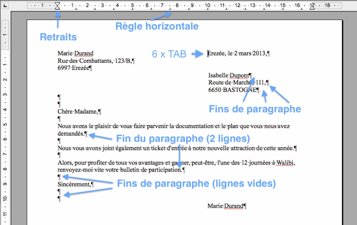 lettre word mise en page Module 3 Bureautique : Word 2010   Writer 4 (Bases)   Exercice  lettre word mise en page