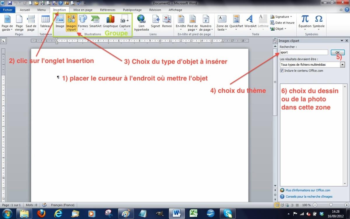 Module 3 Bureautique : Word 2010 - Writer 3 et 4 (Bases) - Insertions