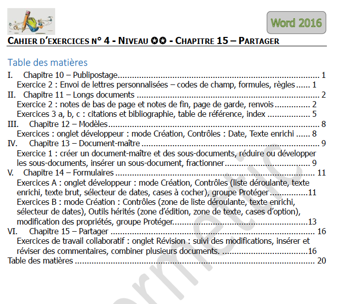 Sommaire du cahier d'exercices Word n°4